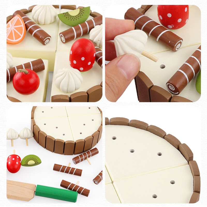 Image 3 - Wooden Baby Kitchen Toys Pretend Play Cutting Cake Play Food Kids Toys Wooden Fruit Cooking Birthday Gifts Interests Toy-in Kitchen Toys from Toys & Hobbies