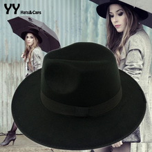 Wholse Black amp Gray amp khaki Red Fedora Hats For Women Cashmere Wool Fedoras Panama Hat Autumn Winter Trilby Gorro Chapeu YY0357 cheap Solid Adult Casual Unisex Polyester Wool YY0357 Wool fedora hat Ht50059 2015 new Autumn winter hat