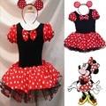 Mickey Mouse Vestido de Navidad Chica Del Verano Vestido de Una sola pieza Niños Sundress de Los Niños Minne Lindo Ballet Performance Traje de la Danza
