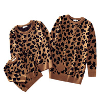 2019 Leopard Grain Family Look Leopard Sweaters Family Matching Clothes Mother Daughter Son Baby Boys Girls Warm Winter Coats