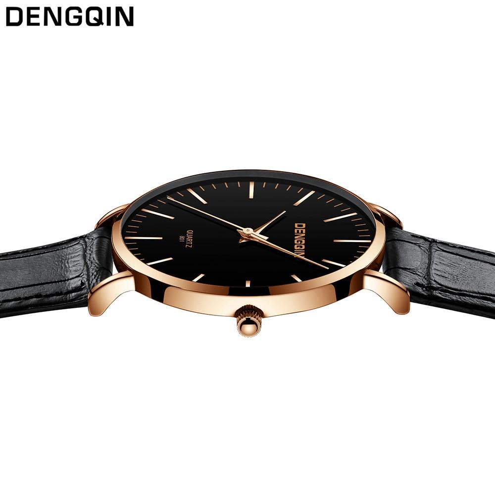 Dengqin модные Для мужчин часы лучший бренд Роскошные Кварцевые часы кожа Повседневное наручные часы Relogio Masculino