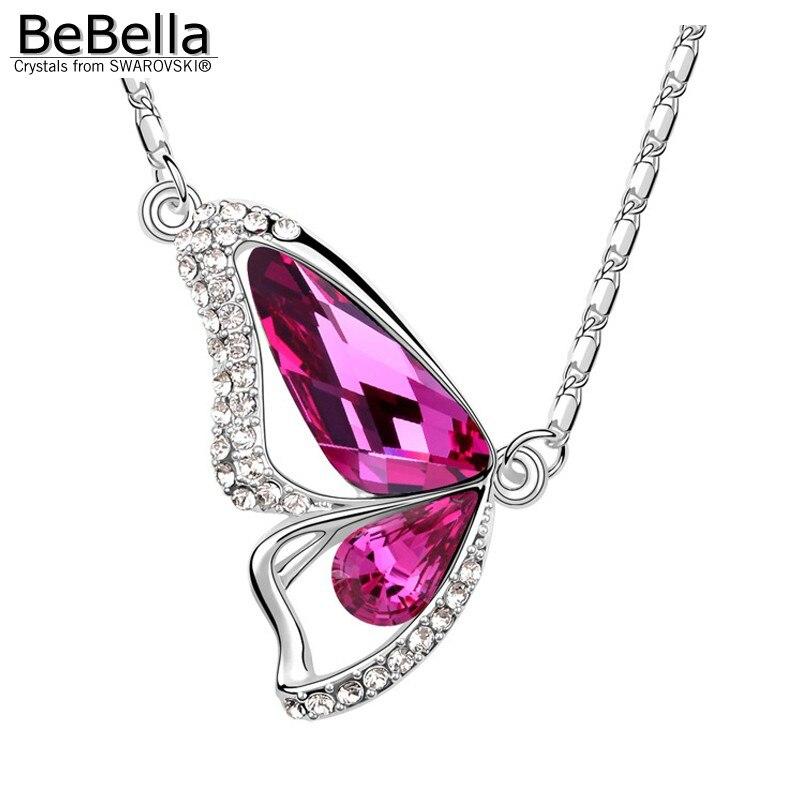 BeBella Кристальное ожерелье с подвеской в виде бабочки с кристаллами Swarovski для женщин, девочек и детей, рождественское модное ювелирное изделие, подарок - Окраска металла: Fuchsia