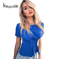 Kaywide 2017 Fashion Corset Tie Women T Shirt Summer Casual Slim T Shirt Ladies Bandage Tops
