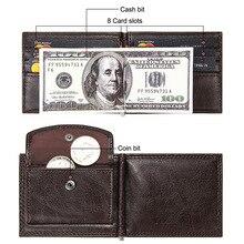 Business Card Holder With Pocket PU Leather Short Wallet Male Black Money Holder Fashion Bifold Wallets for Men Multi Card Slots