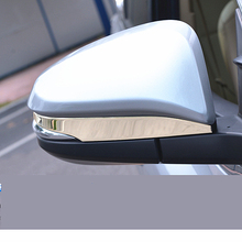 цена на JY 2pcs SUS304 Stainless Steel Rearview Side Mirror Strip Trim Car Styling Cover Accessories For Toyota Highlander 2015-2017