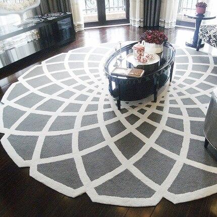 Черный круглый ковер alfombras современные ковры ручной работы для гостиной спальни модные креативные журнальный столик диван tapete - Цвет: Светло-серый