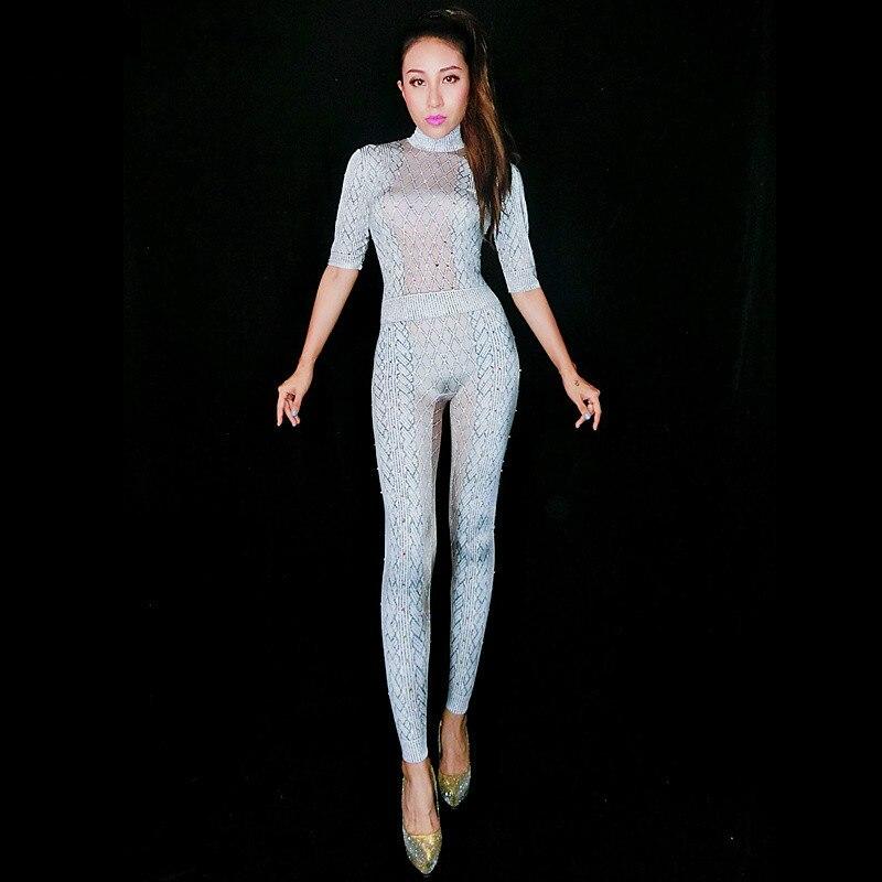 Ab Color Spectacle Outfit Costume Party Performance Chanteur Femelle Sexy Body Salopette Blanc Danseur Discothèque Photo Tenue Strass Nude gp1qEqCwx