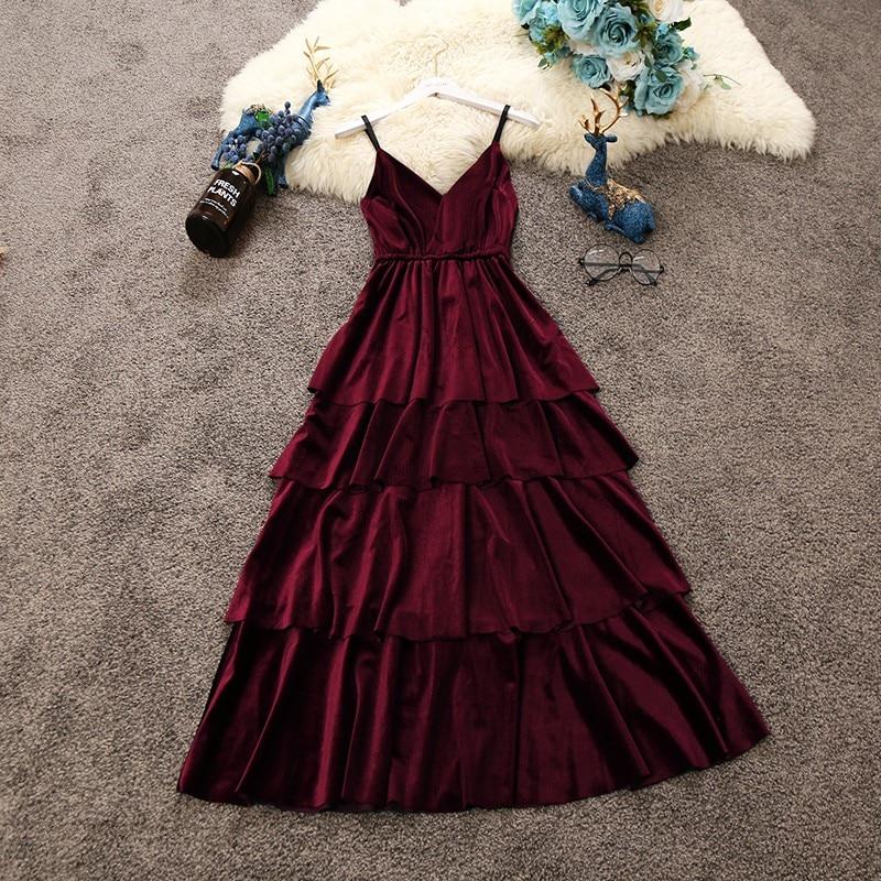 2018 autumn new women velvet sling V collar sleeveless layer cake dress female solid color strap vintage elegant fringed dresses