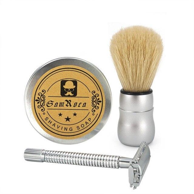 2017 New Shaving Sets Bristle Hair Shaving Brush+ Alloy Steel Shaving Razor +100g Goat Milk Shaving Cream Facial Shaving Sets