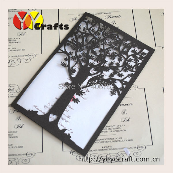 Us 12 1 Customized Coffie Tree Shinny Glitter Paper Wedding Invitation Card Printing In Cards Invitations From Home Garden On Aliexpress