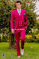 Band New Groomsmen Peak Lapel Groom Tuxedos Hot Pink Men Suits Wedding Best Man Blazer ( Jacket+Pants+Tie+Vest ) C100