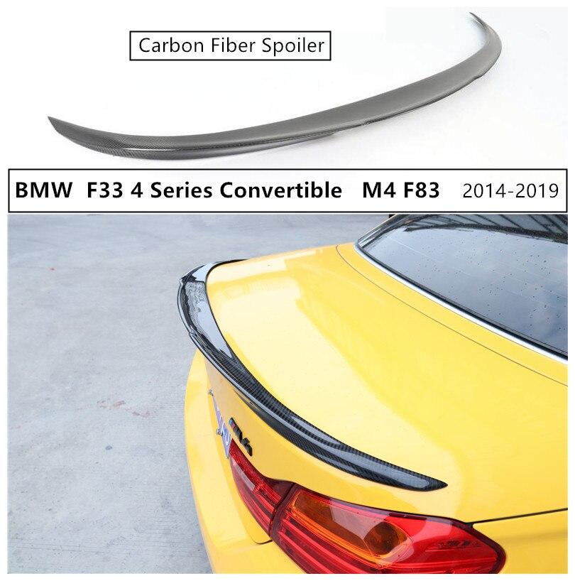 Haute Qualité Spoiler En Fiber De Carbone Pour BMW F33 Série 4 Cabriolet M4 F83 420 425 428 430 435 2014-2019 Aile arrière Spoilers