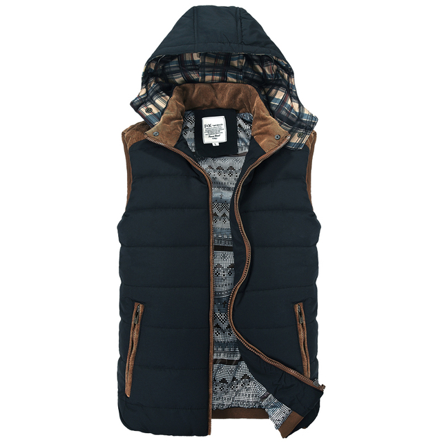 New Casual Hooded Colete Masculino De Inverno Good Quality Cotton-padded Men Vest Jacket