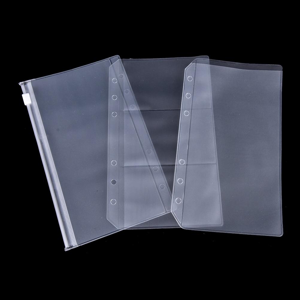 A5/A6 PVC Transparent Zip Lock Envelope Binder Pocket Refill Organiser Stationery For 6 Holes