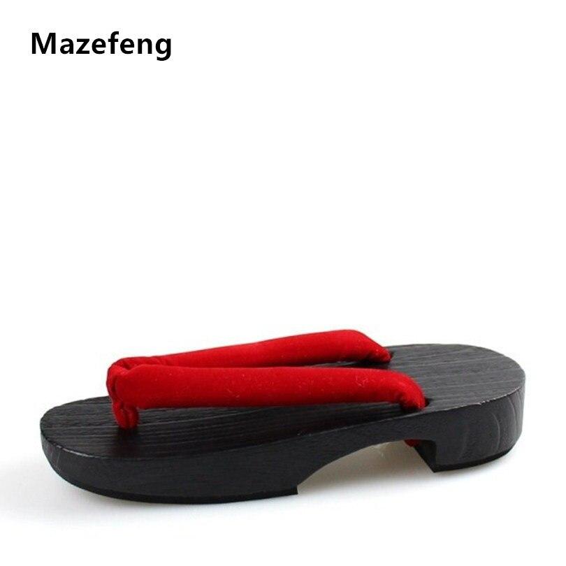 2017 Summer Flip Flops Women Sandals designer Japanese Geta wooden Sandals Clogs shoes woman Cosplay Geta Flats sandalias wood sandals flip flops geta japanese samurai clogs wood sandals clogs shoes flat wood heel shoes summer plank slippers sandals