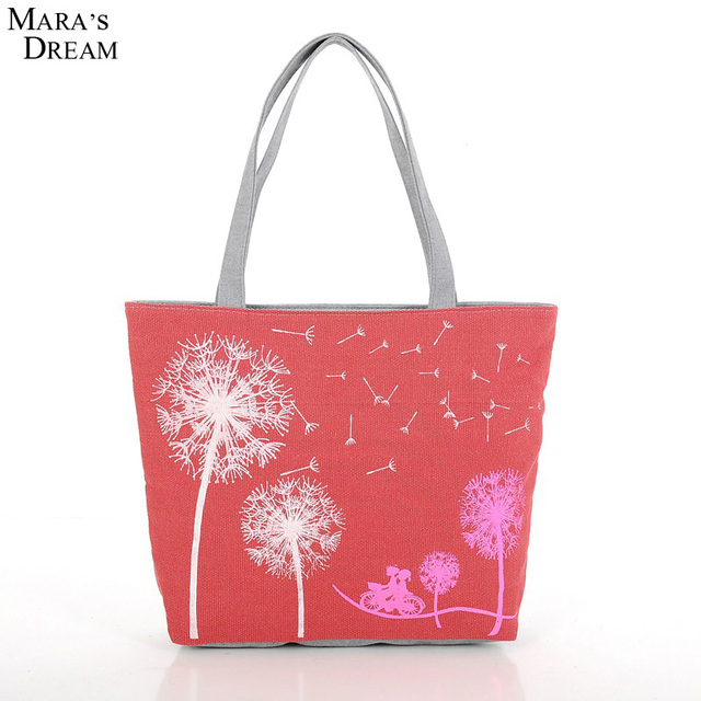 Mara's Dream 2019 New Fashion Dandelion Canvas Bag Printed Flowers Zipper Women Handbag Shoulder Bags Women Messenger Bags