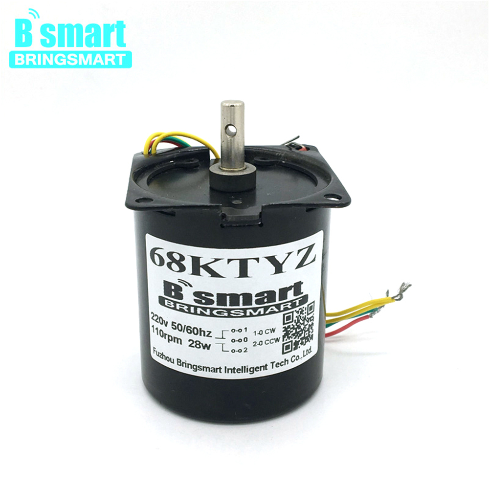 Bringsmart 220V AC Permanent Magnet Synchronous Motor <font><b>68KTYZ</b></font> Low Speed Motor 28W Positive Reversed Micro Reducer 50RPM image