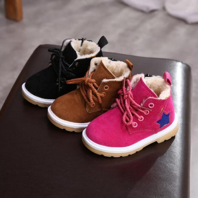 Winter Baby Girls Snow Boots Lovely Children Non-slip Rain Shoes Fashion  Plush Warm Cotton-Padded Kids Booties 057a269686aa