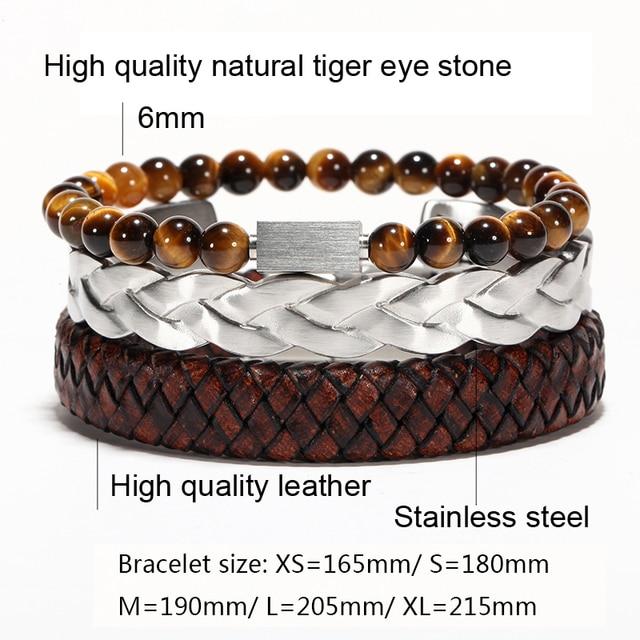 Braided Leather + Titanium Chain Cuff set or separetly 2