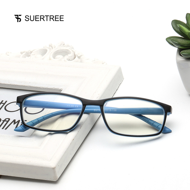 SUERTREE Reading Glasses Anti Blue Ray Ultralight HD Diopter Lens Presbyopic Glasses Comfort Fit Men and Women for Reading BM141