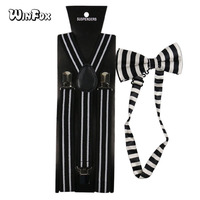 Winfox Vintage Black White Women Men Suspenders Bow Tie Set Striped  Brace