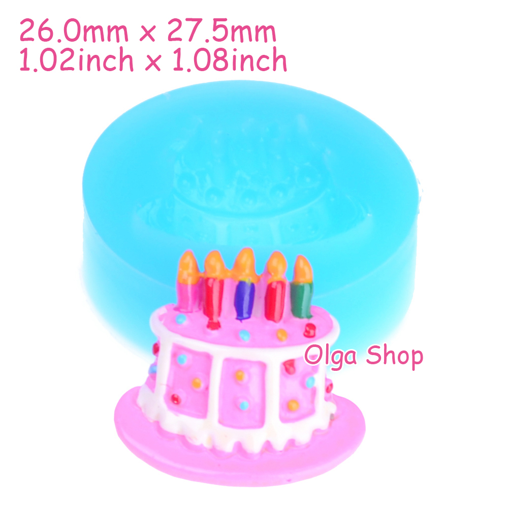 Gyl412 275mm Birthday Cake Mold Cake With Candle Silicone Mold