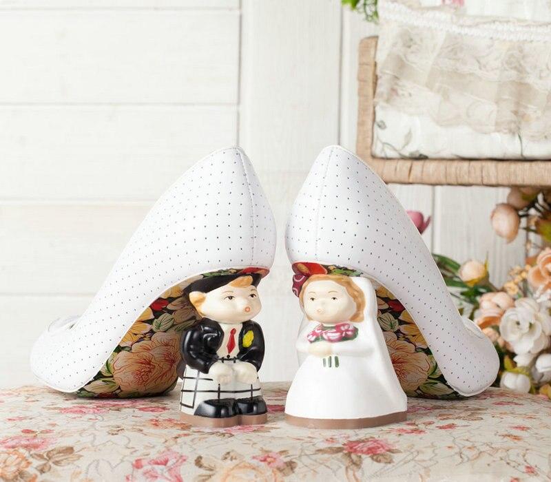 The Newest 2018 Bride&Groom High Heels Wedding Shoes For Ladies Bowtie Embellished Dot Print Woman Pumps Slip-on Shoes Woman plus dot mesh yoke flounce embellished bodysuit