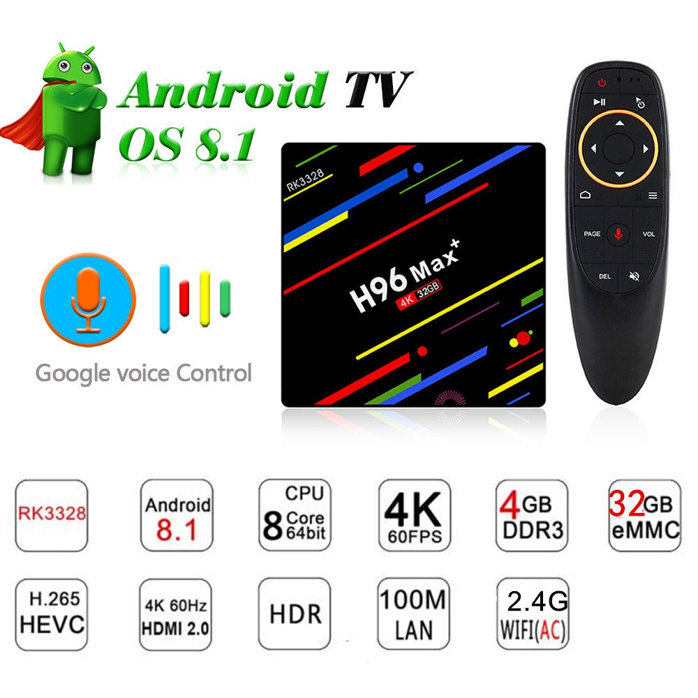 2018 h96 max Google Voice Control Smart TV BOX Android 8.1 RK3328 4GB 32GB Streaming Google Play Netflix 4K android tv box алексей голощапов google android системные компоненты и сетевые коммуникации