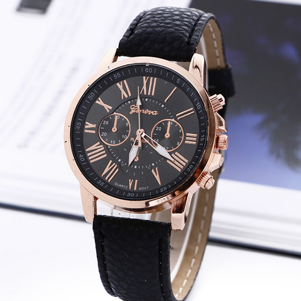 2017 New Fashion Geneva Watches Roman Numerals Faux Leather Quartz Watch Women Men Casual Wrist Watch relogios feminino Hours fashion casual watch men women unisex neutral clock roman numerals wood leather band analog hour quartz wrist watches 7550114 page 8