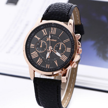 2017 New Fashion Geneva Watches Roman Numerals Faux Leather Quartz Watch Women Men Casual Wrist Watch relogios feminino Hours