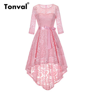 Image 3 - Tonval Vintage Navy Blue Lace Robe Dress Women 2/3 Sleeve High Low Hem Elegant Dresses Party Midi Autumn Dress