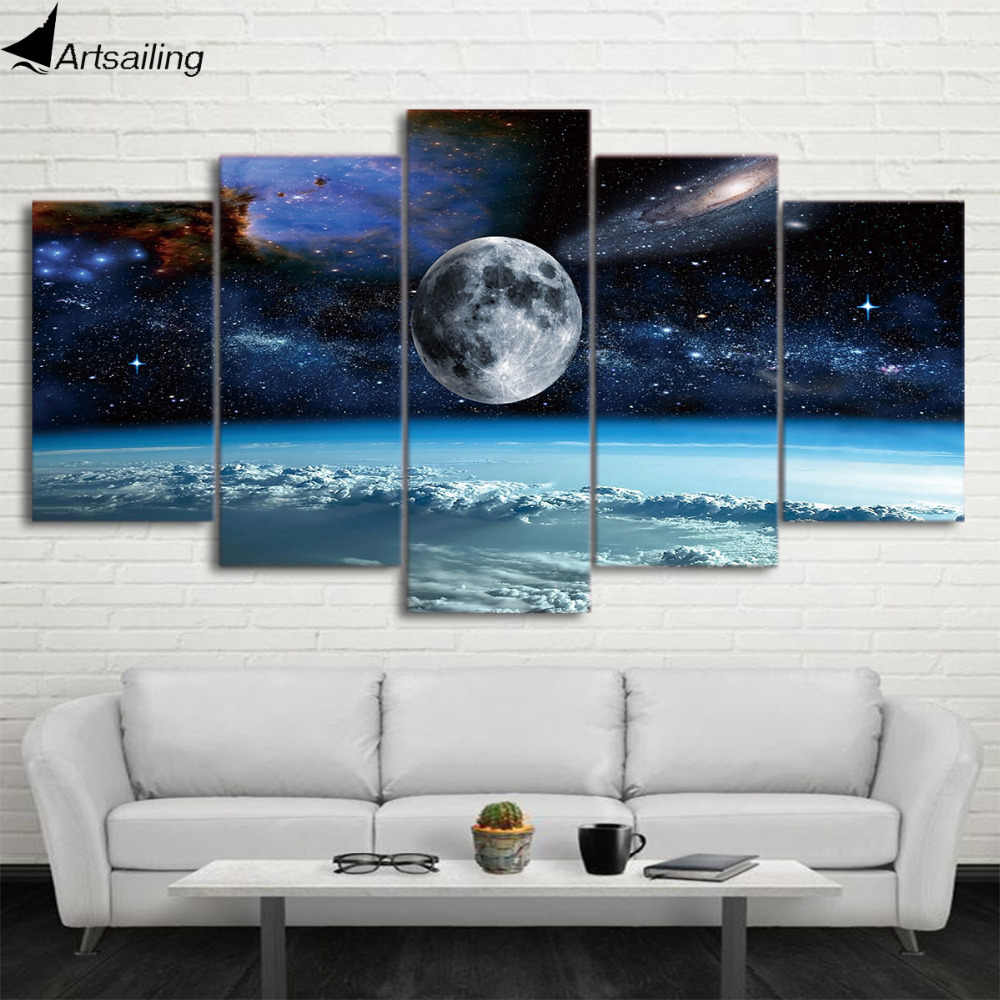 HD print 5 Pieces Canvas Art Space Universe moon stars Painting Modular Framed Canvas Home Decor Poster For Living Room CU-1486C