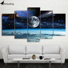 HD print 5 Pieces Canvas Art Space Universe moon stars Painting Modular Framed Canvas Home Decor Poster For Living Room CU-1486C(China)
