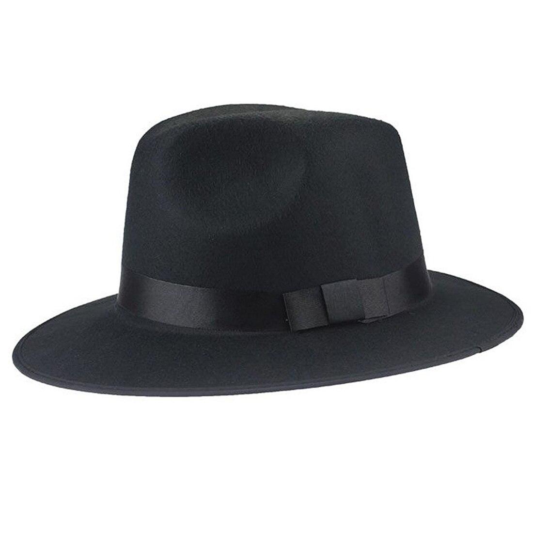 Vintage Unisex Blower Wool Felt Fedora Trilby Derby Jazz Cap Hat (black)
