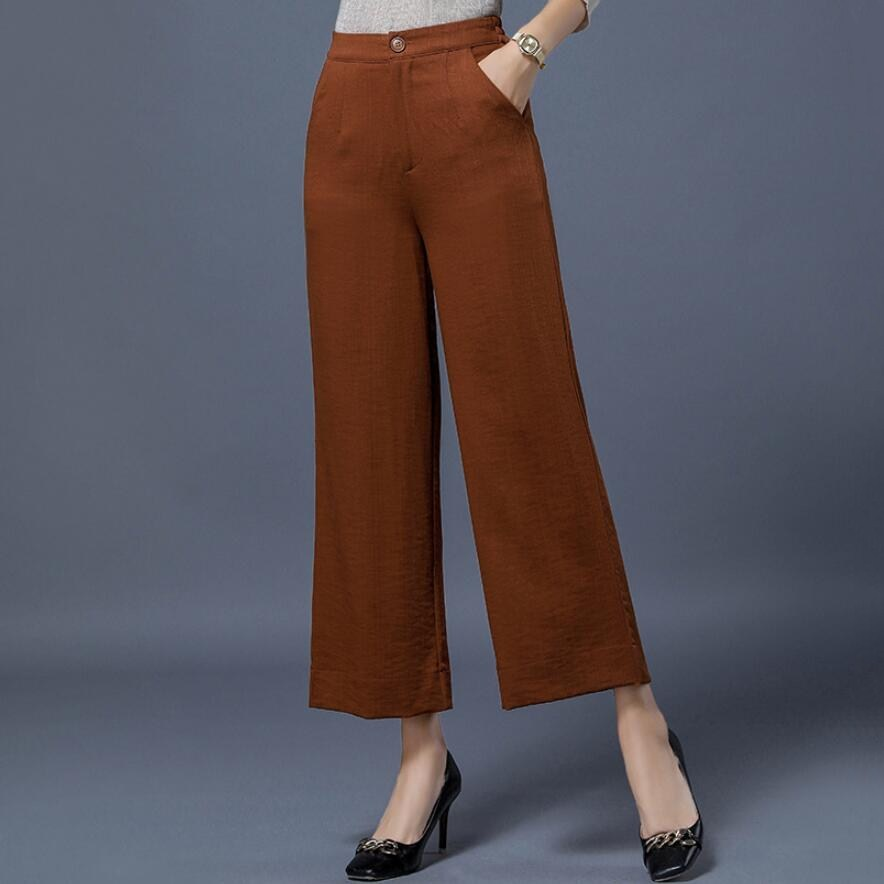 Free Shipping YSBELL New Autumn Fashion Pants Women High Waist Wide Leg Pants One Button Front Zipper Casual Ankle-length Pants