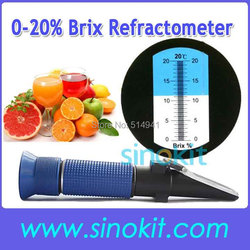 Tanie ABS 0-20% Brix ręczny z tworzywa sztucznego refraktometr P-RHB-20ATC niebieski