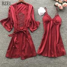 BZEL 섹시한 레이스 로브 세트 벨트 2PCS 여성 새틴 피자 세트 잠옷 실크 여름 잠옷 가운 여성 Pijamas M XL