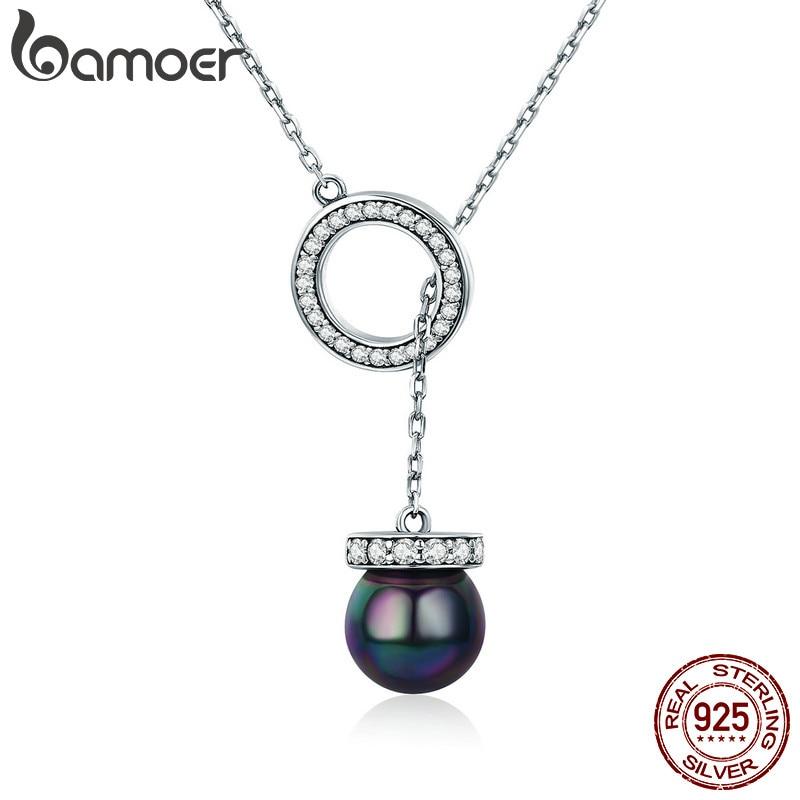 Женское ожерелье с подвеской BAMOER, серебряное ожерелье из 100% 925 пробы с черным жемчугом в виде раковины, SCN200