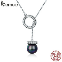 BAMOER 100 925 Sterling Silver Circle Black Imitation Pearl Elegant Long Chain Women Pendant Necklace Silver