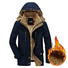 Kurtka zimowa mężczyźni gruby ciepły kurtka z kapturem wojskowy Cargo mężczyzna płaszcz zimowy ciepły polar męski płaszcz Plus rozmiar M  5XL