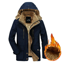 Winter Jacket Men Thick Warm Hooded Parka Military Cargo Mens Winter Coat Warm Fleece Male Overcoat Plus Size M  5XL