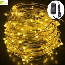 Kingoffer Led String Lights 20m/30m/50m DC12V Waterproof Outdoor Copper /Silver RGB Wire With Power Supply Christmas Wedding