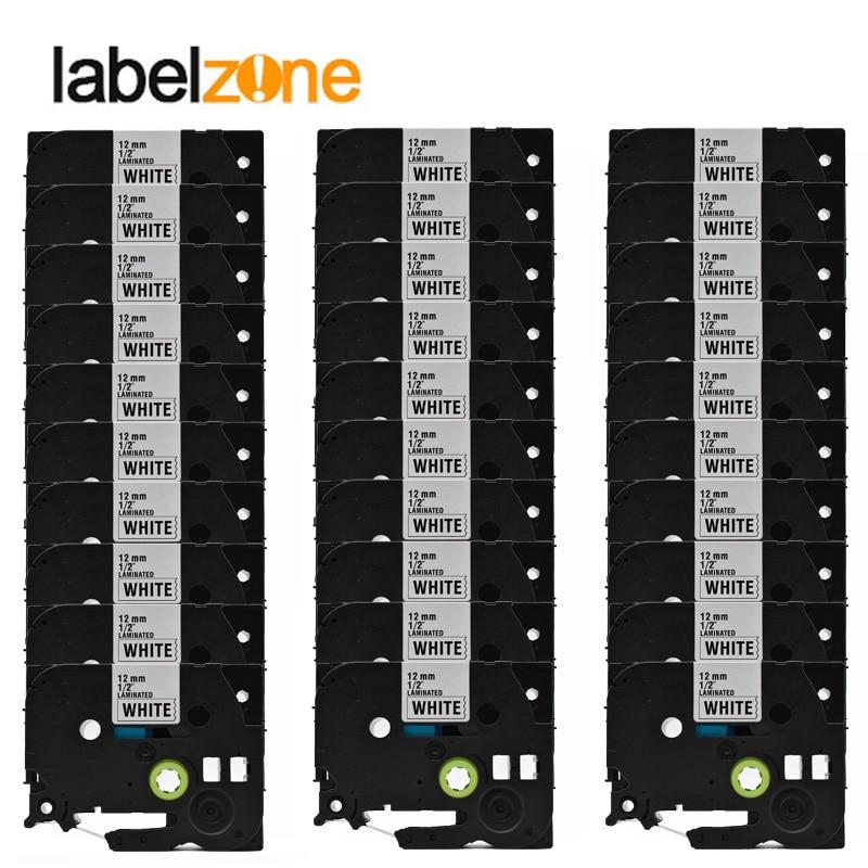 30 Packs lot tze231 Black on white compatible brother p touch printer tze 231 tz231 tz