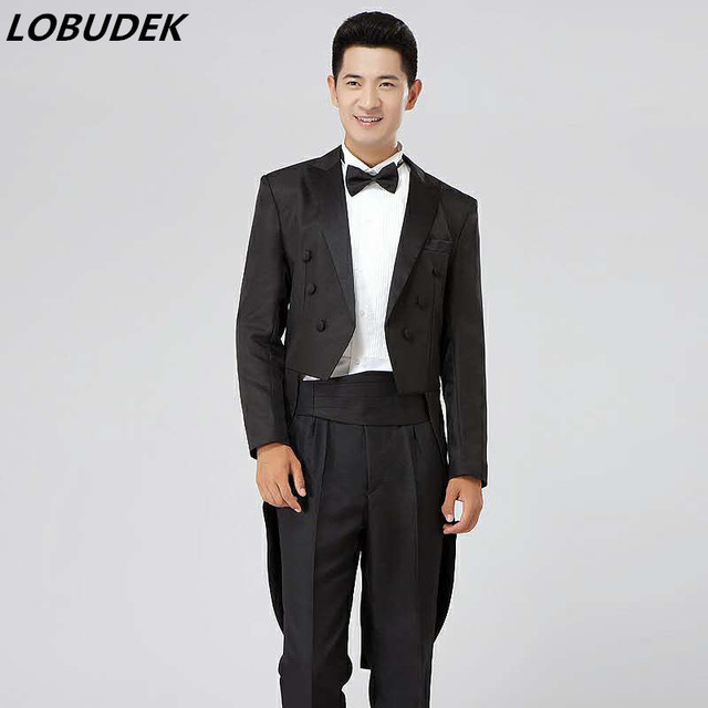 black white men suits (jacket+pants) sets wedding prom groom dancer ...