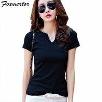 Foxmertor 2017 Basic T Shirt Women Summer Short Sleeve V Neck Cotton Tees Tops Female Solid