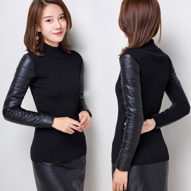 Sweater Ladies Turtleneck Leather-Sleeve Winter Pullovers Autumn Fashion Women's New