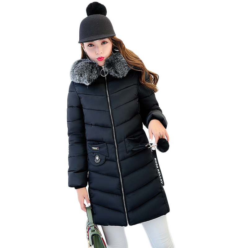 High Quality Women Winter Jacket New Fashion 2017 Female Large Fur Hooded Thick Warm Down Cotton Coat Parka Plus Size 4XL CM1794 new fashion winter jacket women fur collar hooded jacket warm thick coat large size slim for women outwear parka women g2786