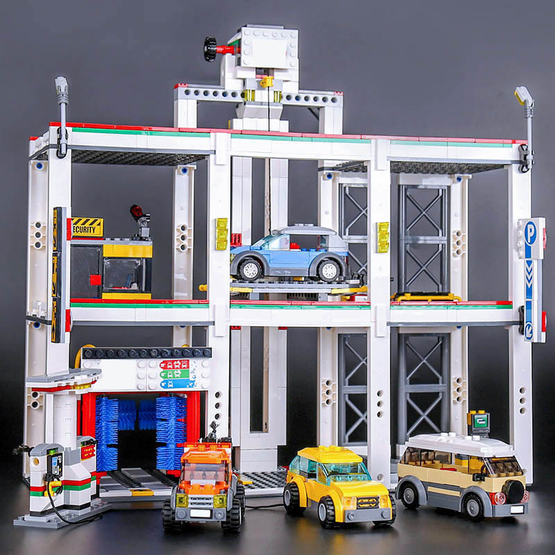 STZHOU 02073 City Series The City Garage Automated Parking Set 4207 Building Blocks Toys For Children Christmas Gift Legoings building blocks super heroes back to the future doc brown and marty mcfly with skateboard wolverine toys for children gift kf197