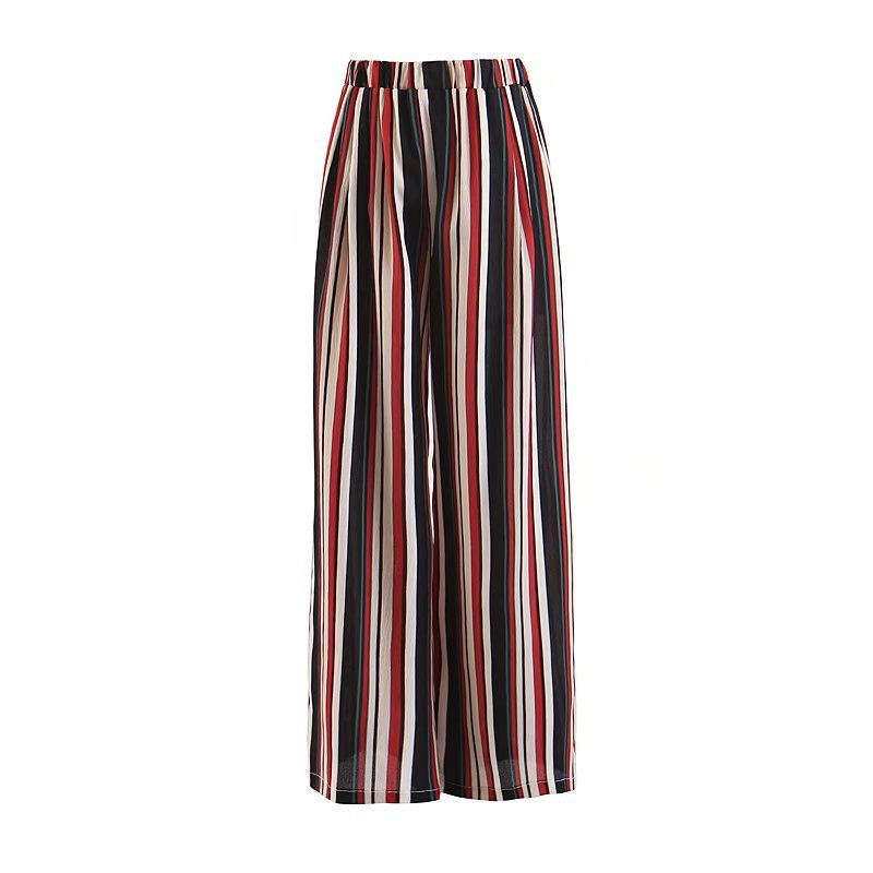 2019 Summer Women Fashion Colorful Striped Print Wide Leg   Pants   High Elastic Waist Full Loose Trousers
