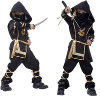 Free Shipping Super Handsome Black Ninja Warrior Costumes Kids Halloween Party Cosplay Costume Party Game Performance
